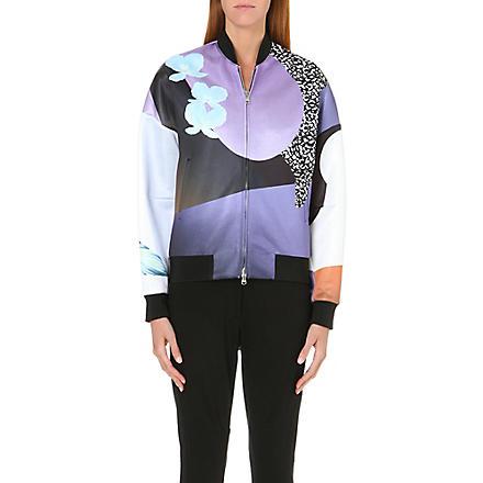 3.1 PHILLIP LIM Floral-print satin bomber jacket (Purple/caramel multi
