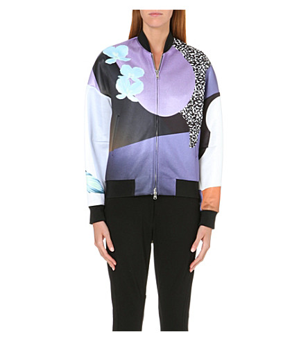 3.1 PHILLIP LIM Floral-print satin bomber jacket (Purple/caramel multi