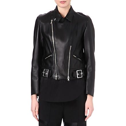 3.1 PHILLIP LIM Sculpted leather motorcycle jacket (Black