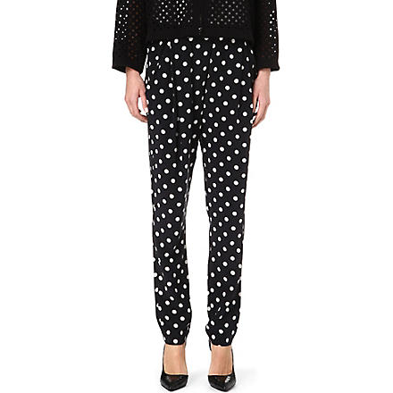 3.1 PHILLIP LIM Polka dot pleated silk trousers (Black/oatmeal