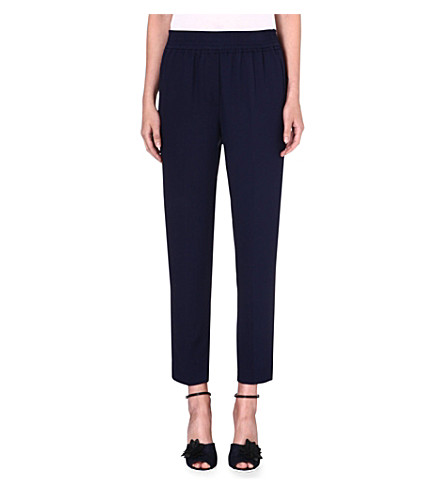 3.1 PHILLIP LIM Smocked-waistband silk trousers (Navy