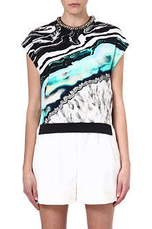 3.1 PHILLIP LIM Embellished-collar marble-print top