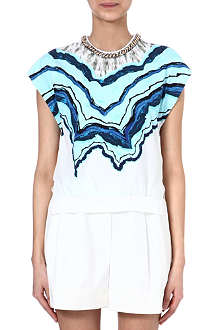 3.1 PHILLIP LIM Marble-print silk top