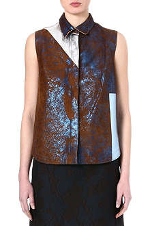 3.1 PHILLIP LIM Foiled blue leather shirt