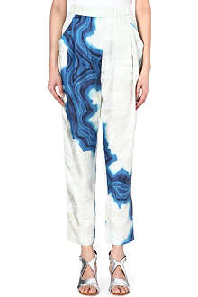 3.1 PHILLIP LIM Marble-print silk trousers