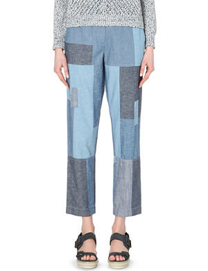 3.1 PHILLIP LIM Patchwork chambray trousers