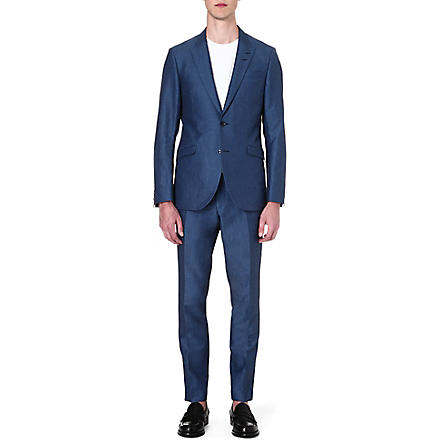 TIGER OF SWEDEN Evert peak-lapel wool suit (Navy