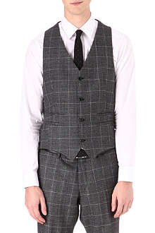 TIGER OF SWEDEN Wool-blend checked waistcoat