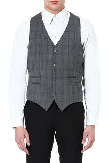 TIGER OF SWEDEN Jed checked wool waistcoat