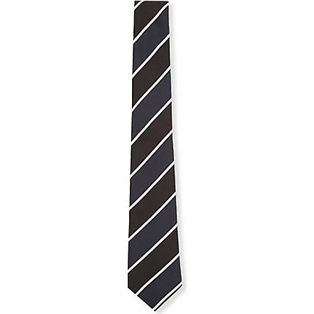 TIGER OF SWEDEN Striped silk tie 7cm (Black
