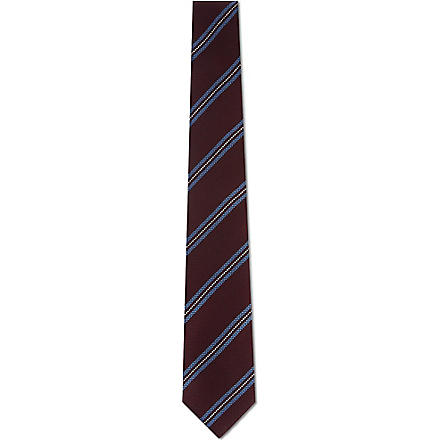 TIGER OF SWEDEN Textured diagonal stripe tie (Burgundy