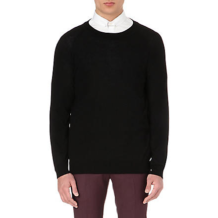 TIGER OF SWEDEN Terry crew-neck merino jumper (Black