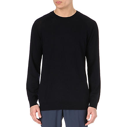 TIGER OF SWEDEN Terry crew-neck merino jumper (Navy