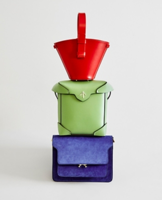 Three colourful bags stacked on top of each other