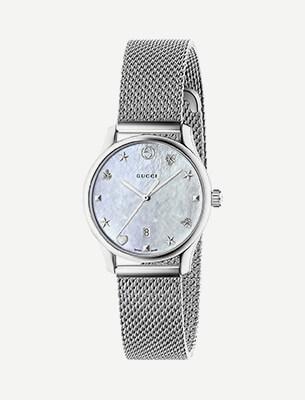 A silver bracelet watch