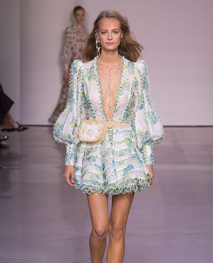 A Zimmermann catwalk image of a model in a dress