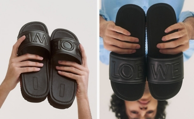 Two images of a man holding Loewe pool sliders