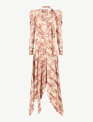 粉色花卉印花连衣裙