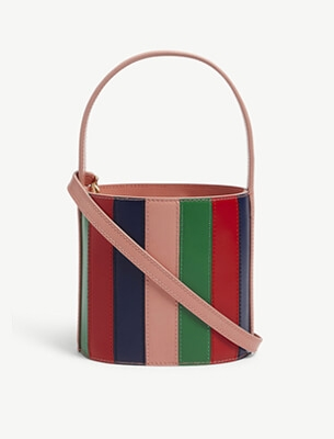 A striped bucket bag