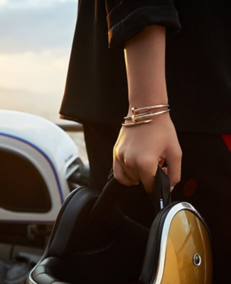 A model wearing a Juste un Clou cartier bangle