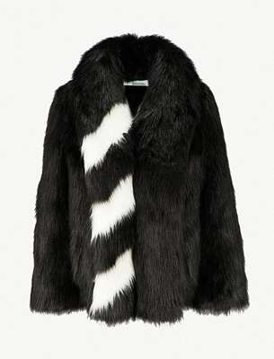 Off White faux fur coat