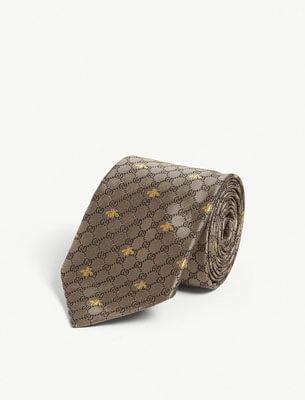 Gucci Silk Tie Bee Print