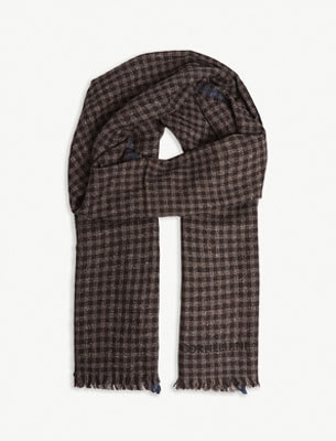 Corneliani brown check scarf