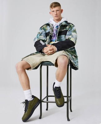 OFF-WHITE impressionism jacket worn with Ryan Hawaii hoody and Balmain shorts