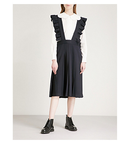 COMME COMME DES GARCONS Frilled sleeveless wool-twill pinafore dress (Navy