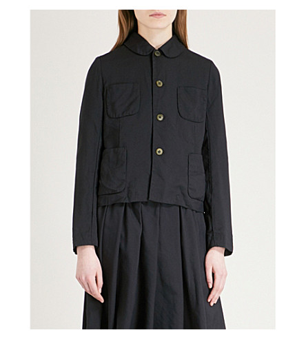 COMME COMME DES GARCONS Patch pocket-detail wool-twill blazer (Navy