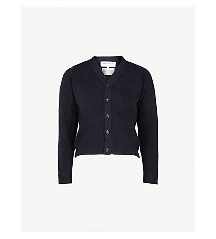 COMME COMME DES GARCONS Shrunken knitted cardigan (Navy