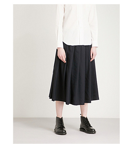 COMME COMME DES GARCONS Pleated high-rise woven-twill midi skirt (Navy