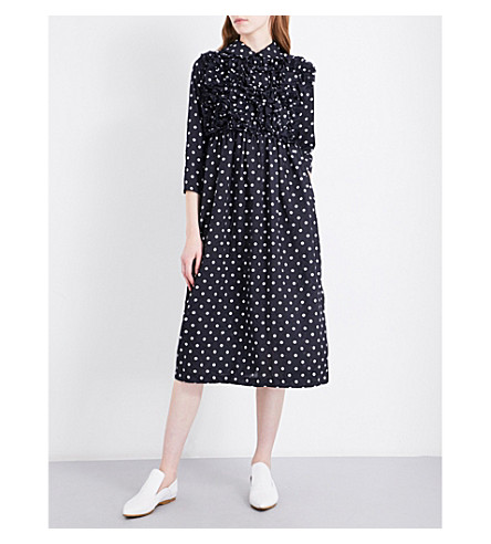 COMME COMME DES GARCONS Polka dot-pattern fit-and-flare crepe dress (Navy+white