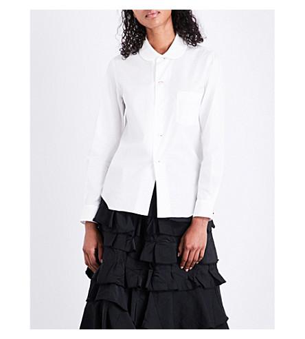 COMME COMME DES GARCONS Peter Pan collar cotton-poplin shirt (White