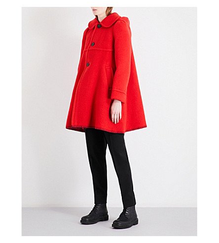 COMME COMME DES GARCONS Single-breasted wool-blend coat (Red