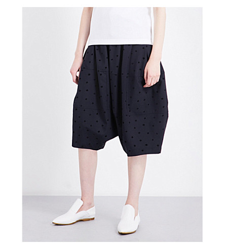 COMME COMME DES GARCONS Oversized flocked high-rise wool shorts (Navy