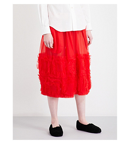 COMME COMME DES GARCONS Tricot-trim high-rise tulle skirt (Red