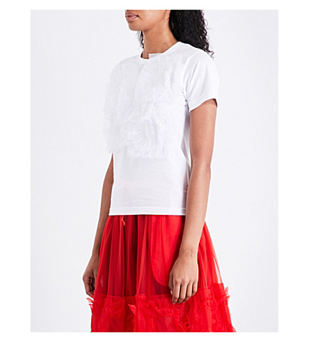 COMME COMME DES GARCONS Frilled-trim cotton T-shirt (White+white