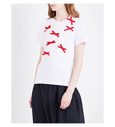 COMME COMME DES GARCONS Bow-appliquéd cotton T-shirt (White+red