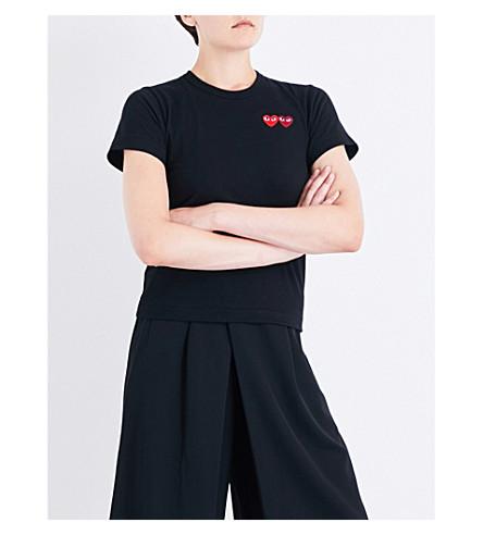 COMME DES GARCONS PLAY Double heart-appliqué cotton-jersey T-shirt (Black