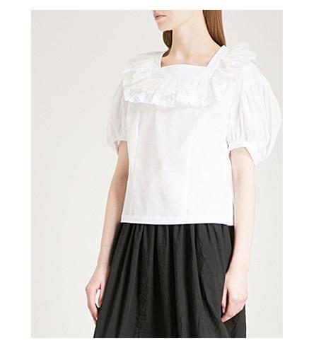 COMME COMME DES GARCONS Puff-sleeve cotton-poplin blouse (White