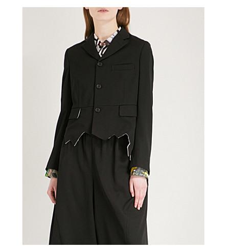 COMME COMME DES GARCONS Raw-hem wool blazer (Black