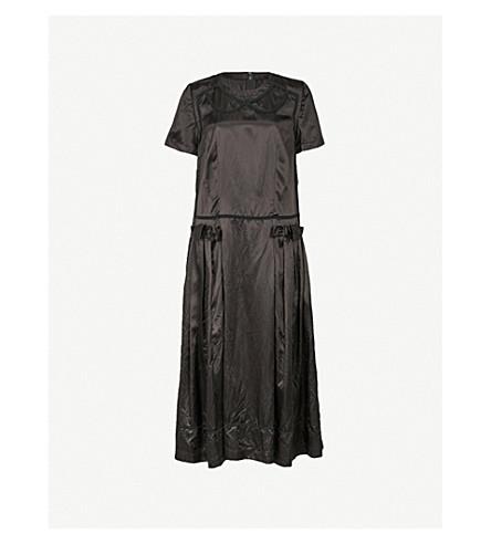COMME COMME DES GARCONS Bow-detail embroidered satin midi dress (Black