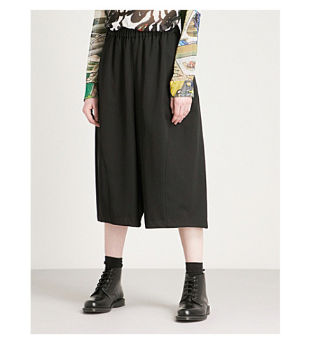 COMME COMME DES GARCONS Ruched high-rise wool trousers (Black