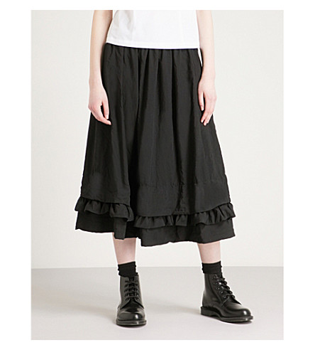 COMME COMME DES GARCONS Frilled-hem high-rise woven midi skirt (Black