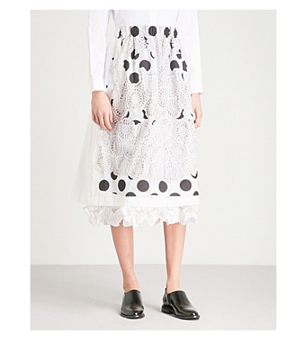 COMME COMME DES GARCONS Lace-embroidered polka dot-print cotton skirt (White