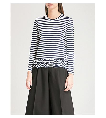 COMME COMME DES GARCONS Frilled hem striped cotton top (Stripe