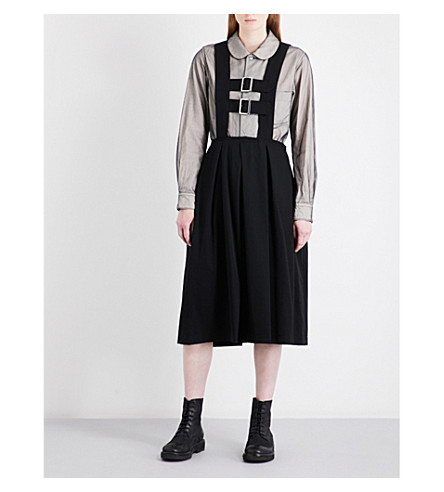 COMME COMME DES GARCONS Suspender-strap wool dress (Navy