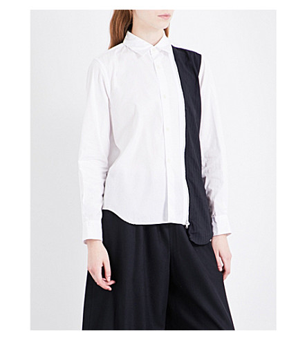 COMME COMME DES GARCONS Pinstripe wool-panel cotton shirt (White+navy