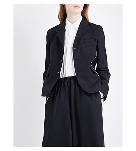 COMME COMME DES GARCONS Side zip-detail wool jacket (Black